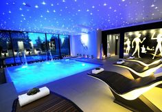 Gorgeous Minimalist Swimming Pool Indoor Design With Stanley House Spa Also Stars Shaped Ceiling Lighting Creating Luxurious Indoor Swimming Pool. Swimming Pool Lights, Luxury Swimming Pools, Swimming Pool Designs, Outdoor Swimming Pool, Jacuzzi, Indoor Pools, Pool Spa, Pool Water, Square Pool