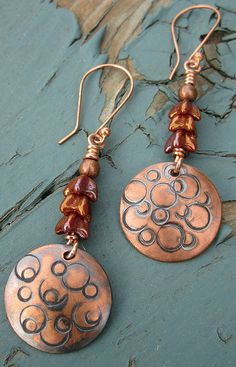 Handstamped copper by Debbie / Prairie Emporium, via Flickr