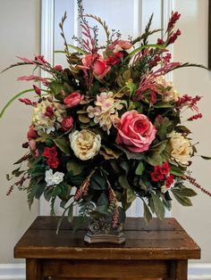 Large Elegant Floral Arrangement Dining Room Foyer Entry Wedding Table Centerpiece Pedestal Container Pink Red Real Touch Flowers - PLEASE NOTE! Due to an extremely high volume of orders, my turnaround time for wreaths has increase - Easter Flower Arrangements, Funeral Flower Arrangements, Silk Floral Arrangements, Beautiful Flower Arrangements, Funeral Flowers, Floral Centerpieces, Flower Vases, Beautiful Flowers, Easter Centerpiece