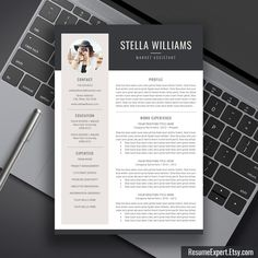 Modern Resume Design 3 Pages Resume Template For Word  Cv Template  Cover Letter