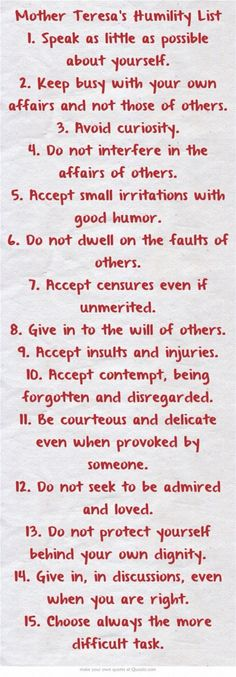 Humility list