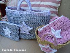 Cestas y bolsos para la playa. Crochet. Estrellas. Verano. En http://queridaclaudina.blogspot.com.es/2014/06/el-mercadillo-de-claudina-cestas-con.html