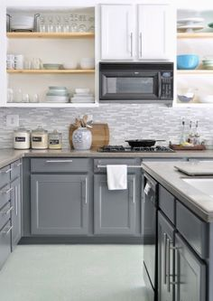 3 Easy Hacks: Kitchen Remodel With Island White kitchen remodel lighting granite.Kitchen Remodel Cost Backsplash Ideas mobile home galley kitchen remodel.Ranch Kitchen Remodel Home Plans. Kitchen Redo, Kitchen Backsplash, Kitchen Ideas, Backsplash Ideas, Kitchen Flooring, Kitchen Storage, Open Cabinet Kitchen, Grey Backsplash, Grey Countertops