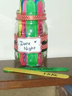 Valentines gift for hubby! Draw popscicle sticks for what to do on date night! Yellow $ green $$ blue $$$ and red are free (romantic) ideas! Can't wait to make a chore jar too!