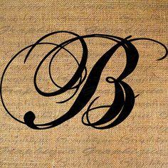 Monogram Initial Letter B Digital Collage Sheet Burlap Digital Download Calligraphy 4 Burlap Transfer 2 Pillow Tote Tea Towels No. 2089B