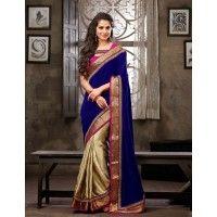 Blue and Golden Color Satin Shimmer with velvet pallu Designer Sarees