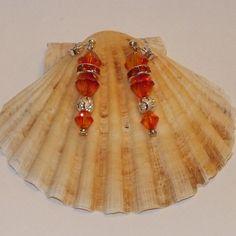 Sterling Silver And Swarovski Crystal Fireopal Dangle Earrings