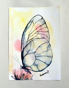 Papillon peinture, aquarelle, format A4, 8 x 12 illustrations originales. La…
