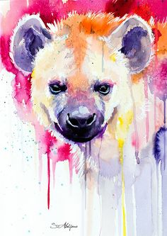 Hyena watercolor painting print animal illustration by SlaviART