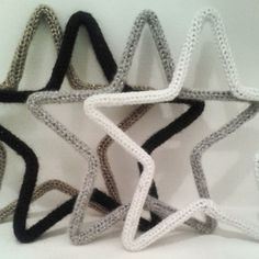 Christmas decoration stars black white silver gold handmade knitted Now for sale www.isaenbila.nl