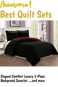 Elegant Comfort Luxury 3-Piece Bedspread Coverlet Diamond Design Quilted Set with Shams - All Season Heavy Weight- Hypoallergenic- Wrinkle and Fade Resistant- King/California King, Black/Burgundy ... (This is an affiliate link) #quiltsets