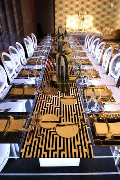 Love the table runner, and elongated Greek key. Indoor wedding reception at W South Beach