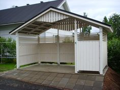 Pyörä/jätekatos syvyytenä 2m ja Car Ports, Building A House, Garden Ideas, Diy And Crafts, Shed, Outdoors, Outdoor Structures, Gardening, Storage