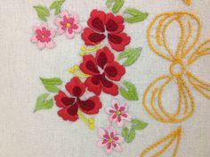Handmade embroidery - hibiscus flower.