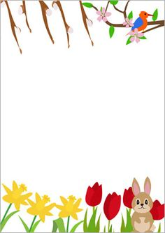 Here is some spring-themed notepaper that could be used to make mats for station activities.