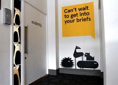 Many more awesome examples on Design Taxi: Quirky Redesign For London Creative Agency Features Cheeky Wall Murals