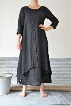 Lagenlook charcoal linen dress and skirt Mode Hippie, Diy Kleidung, Estilo Hippie, Look Fashion, Fashion Design, Trendy Fashion, Gothic Fashion, Fashion Clothes, Mode Hijab