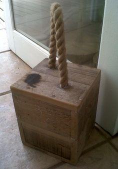 Handmade wooden door stop with rope handle, by 'the garden'.