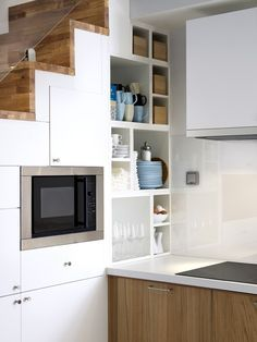 shelves under sloped ceiling | home: modern kitchens | moderne