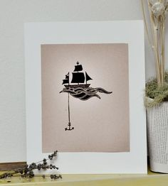 Anchored Ship Block Print by Sappling Bookcraft & Letterpress on Scoutmob Shoppe