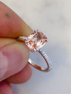 Clio Peach Sapphire Engagement Ring in Platinum with Diamonds – Dana Walden…