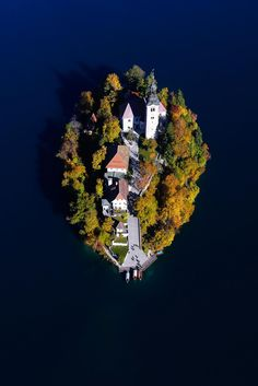Beautiful island from above on Lake Bled, Triglav National Park, Slovenia