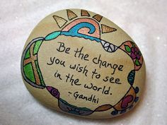 One my desk ~ Stone Poem Hand Painted stone with a message by QuietDove on Etsy, $26.00