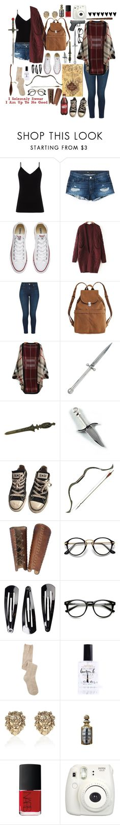 """""""I Solemnly Swear I Am Up To No Good"""" by gracie-keaser ❤ liked on Polyvore featuring Diane Von Furstenberg, 3x1, Converse, WithChic, J Brand, BAGGU, Kieselstein-Cord, NLY Accessories, Lauren B. Beauty and Nimbus"""