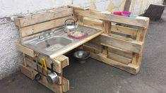 Our Mud Kitchen in Bishopstown – natural playground ideas Benchmarx Kitchen, Mud Kitchen For Kids, Kitchen Ideas, Outdoor Garden Sink, Playground Painting, Natural Playground, Interior Design Living Room, Diy For Kids, Kids Playing