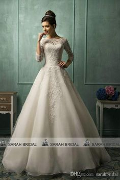 2015 Amelia Sposa Long Sleeve Wedding Dresses For 2016 Plus Size Lace Sheer Crew Neck Custom Made Celebrities Style Cheap Bridal Ball Gowns