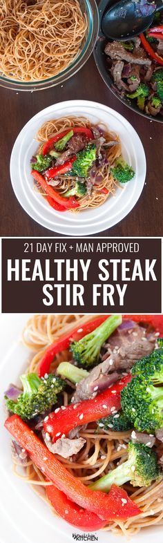 Healthy Steak Stir Fry - this man approved 21 day fix recipe has steak strips, broccoli, red pepper, red onions all tossed together stir fry style and served over ancient grain noodles. It's a fast and easy recipe that's good for you. | thebewitchinkitchen.com