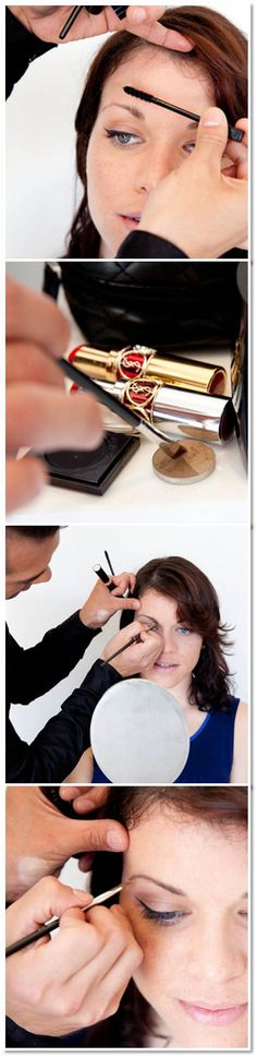 Use an angled brush and brow powder for a natural look