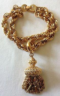Vintage Monet Signed Tassel Charm Double Chain Bracelet