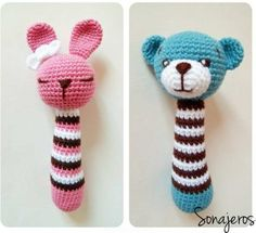 Amigurumi Rattle Construction - Just DIY Crochet Baby Toys, Crochet Amigurumi, Crochet Toys Patterns, Crochet Gifts, Amigurumi Doll, Amigurumi Patterns, Stuffed Toys Patterns, Crochet Dolls, Crochet Bunny