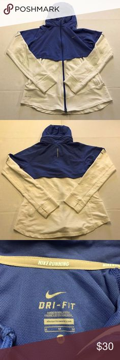 NIKE Jacket Dri-Fit Running Hoodie Full Zip Medium Womens NIKE White Blue Full Zip Hoodie Medium Running Workout Yoga Jacket Coat    gently used condition , no notable flaws , thumb holes , vented , reflection markers ,very nice  jacket  APPROXIMATE MEASUREMENTS LAYING FLAT IN INCHES:  width:18 length:23 Nike Jackets & Coats