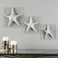 Uttermost Silver Starfish Wall Art - Set of Delightful Starfish Replicas Feature A Metallic Silver Finish They Are Attached To Durable Thick Clear Glass Plaques Sizes Silver StarfishDesigner David FrischMaterial Resin / Glass / Silver Wall Decor, Starfish Wall Decor, Silver Walls, Frame Wall Decor, Rustic Wall Decor, Metal Wall Decor, Wall Art Sets, Metal Wall Art, Frames On Wall