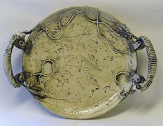 Hybrid Dystopia Plate or Platter with 22k gold by inaeent on Etsy