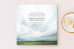 """I really like this because it looks like God is wrapping his arms around you. You might think it hokey, but I kinda like the symbolism. """"Fresh Lands"""" - Destination, Rustic Wedding Invitations in Teal by Emily Jeffords. Beach Theme Wedding Invitations, Wedding Invitation Wording, Invitation Ideas, Wedding Stationery, Invites, Simple Beach Wedding, Rustic Wedding, Destination Wedding Themes, Wedding Prints"""