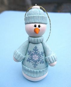 *POLYMER CLAY ~ Snowman in his winter sweater by Clayin Around, via Flickr