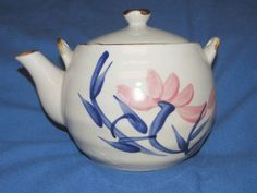 Vintage Hand Painted Flowers Pottery Glazed Tea Pot with Lid No Name Identify??