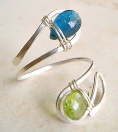 Double Gem Stone Adjustable Ring