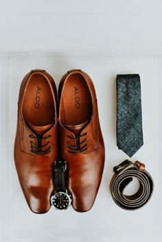 Tan leather shoes and skinny dark teal tie    Image by Chelsea Denise Photography