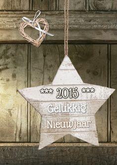 Nieuwjaar 2015 hout ster hart  - Nieuwjaarskaarten - Kaartje2go © OTTI & Lorie Davison