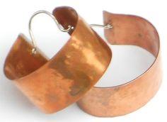 Pure Copper Hoop Earrings Hammered Metal by NorahzBeadSupplies