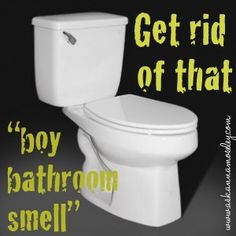 Get rid of the boy bathroom smell: make a paste of baking soda and lemon juice. spread all along bottom of toilet where it meets the floor. let set until dry (about 10 minutes). spray with white vinegar and let fizz. wipe with damp cloth - ta daa!! also spray walls and cabinets with vinegar, let sit for a few minutes, and wipe down.
