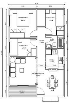Planos de casas de dos habitaciones con 100 metros for Planos de construccion