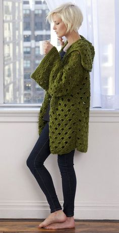 Penny Arcade Crocheted Jacket    This Vicki Howell pattern is available for free here at Caron.com.    As I've said before, I'm not really one for crocheting clothes, but lately I've been interested in finding chic crocheted fashion designs, and this pattern is one of them.   Check it out!