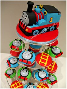 Thomas The Tank Engine Cupcakes, Kids Birthday Cupcakes, 1st Birthday, Children's Cupcakes designed by EliteCakeDesigns Sydney