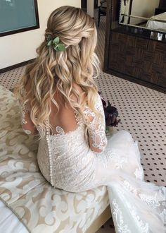 Wedding Hairstyles Half Up Half Down, Half Up Half Down Hair, Wedding Hairstyles For Long Hair, Formal Hairstyles, Down Hairstyles, Gorgeous Hairstyles, Bandana Hairstyles, Easy Hairstyles, Long Bridal Hair