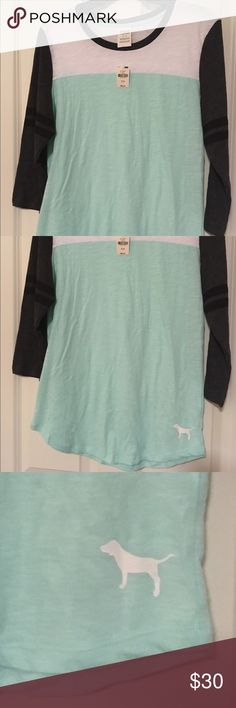 NWT XS VS Pink 3/4th Sleeve Shirt. NWT XS VS Pink 3/4th Sleeve Shirt. Seafoam/White/Grey/Black. Very light and breathable material. Just never had the chance to wear it! PINK Victoria's Secret Tops